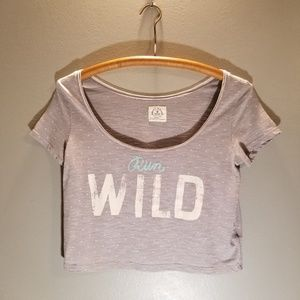 Grey American Eagle Outfitters Vintage Crop Tee XS